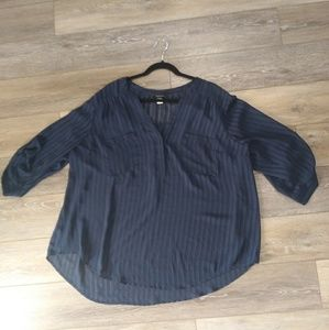 Torrid blue 3/4 length sleeve blouse